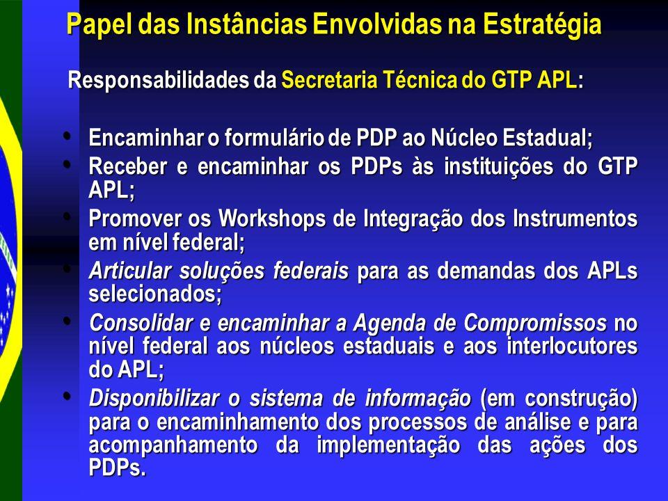 Responsabilidades da Secretaria Técnica do GTP APL: Responsabilidades da Secretaria Técnica do GTP APL: Encaminhar o formulário de PDP ao Núcleo Estad