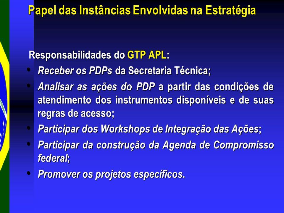 Responsabilidades do GTP APL: Responsabilidades do GTP APL: Receber os PDPs da Secretaria Técnica; Receber os PDPs da Secretaria Técnica; Analisar as