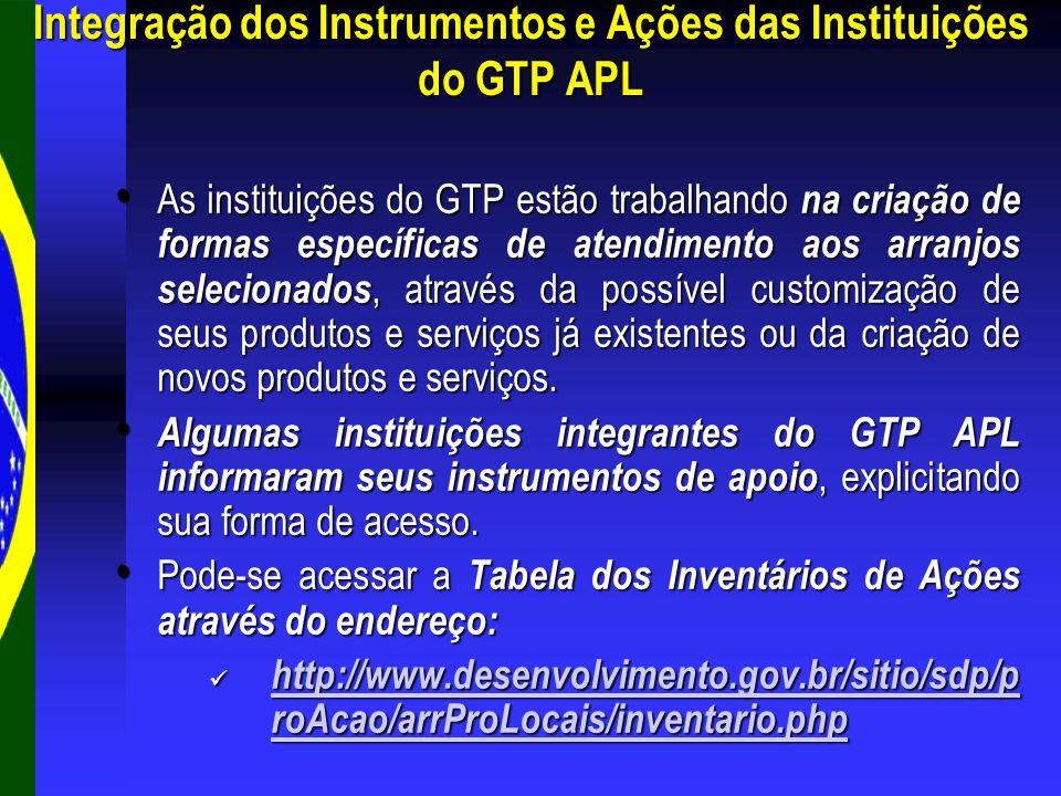 As instituições do GTP estão trabalhando na criação de formas específicas de atendimento aos arranjos selecionados, através da possível customização d