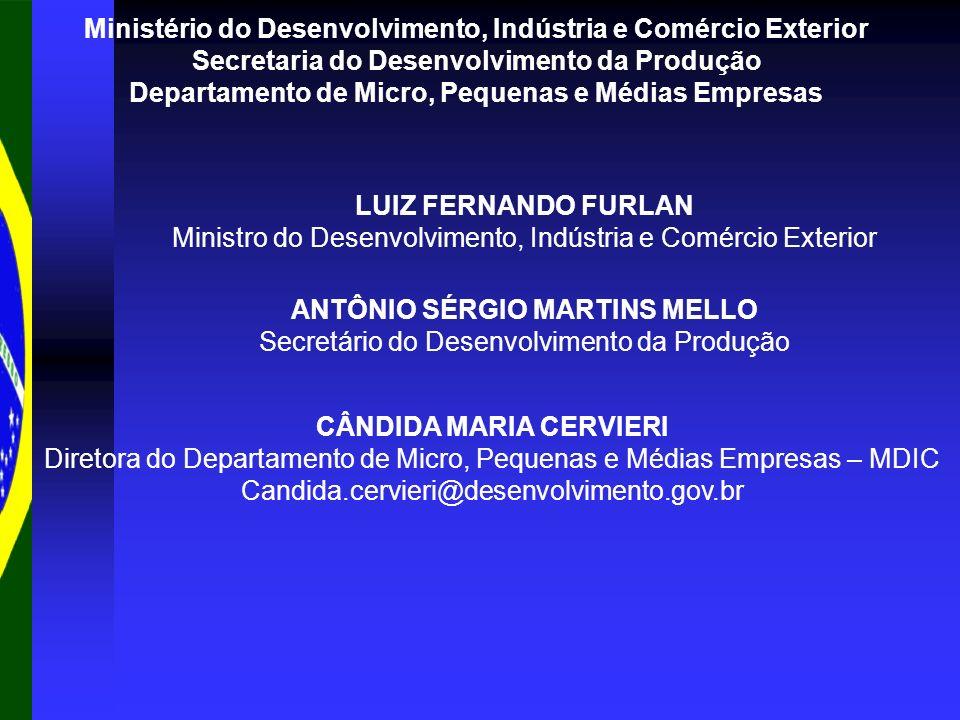Ministério do Desenvolvimento, Indústria e Comércio Exterior Secretaria do Desenvolvimento da Produção Departamento de Micro, Pequenas e Médias Empres