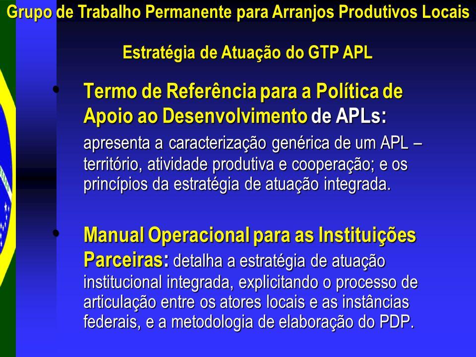 Estratégia de Atuação do GTP APL Termo de Referência para a Política de Apoio ao Desenvolvimento de APLs : apresenta a caracterização genérica de um A