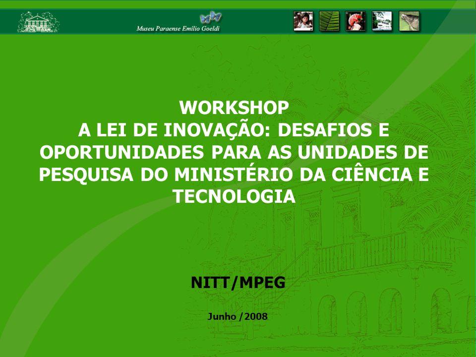 WORKSHOP A LEI DE INOVAÇÃO: DESAFIOS E OPORTUNIDADES PARA AS UNIDADES DE PESQUISA DO MINISTÉRIO DA CIÊNCIA E TECNOLOGIA NITT/MPEG Junho /2008