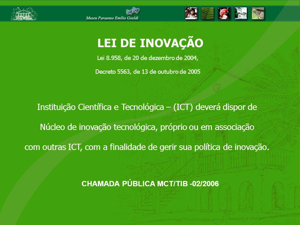 Instituição Científica e Tecnológica – (ICT) deverá dispor de Núcleo de inovação tecnológica, próprio ou em associação com outras ICT, com a finalidad
