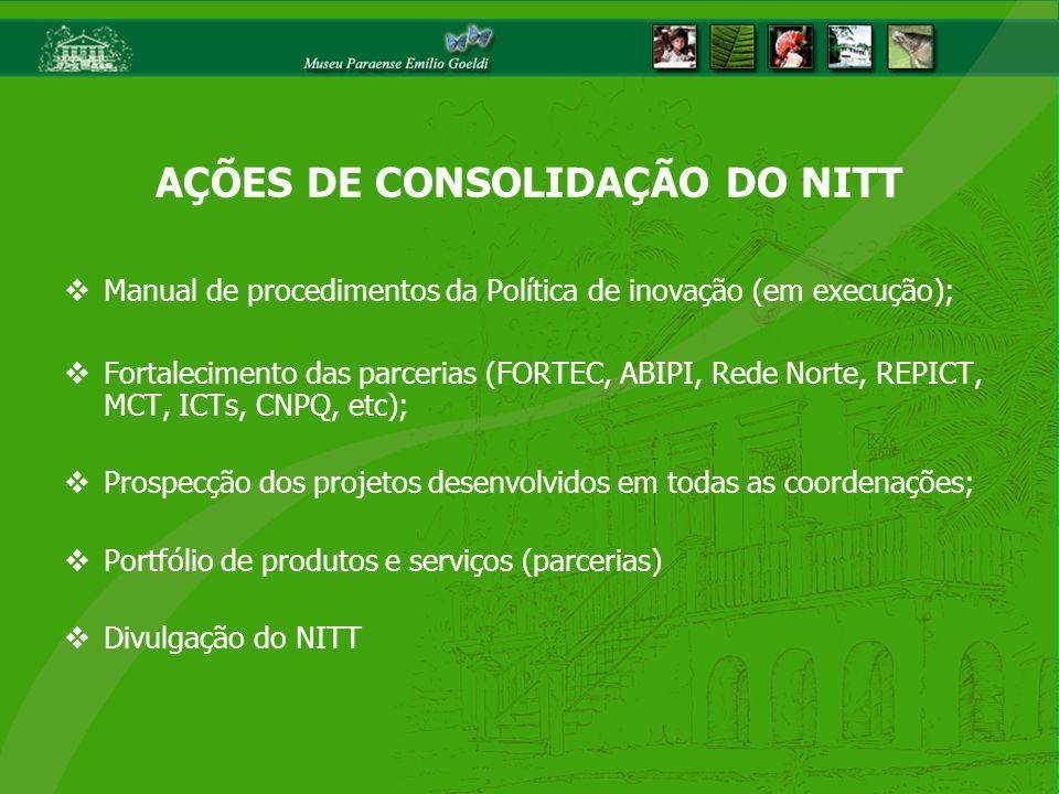 Manual de procedimentos da Política de inovação (em execução); Fortalecimento das parcerias (FORTEC, ABIPI, Rede Norte, REPICT, MCT, ICTs, CNPQ, etc);