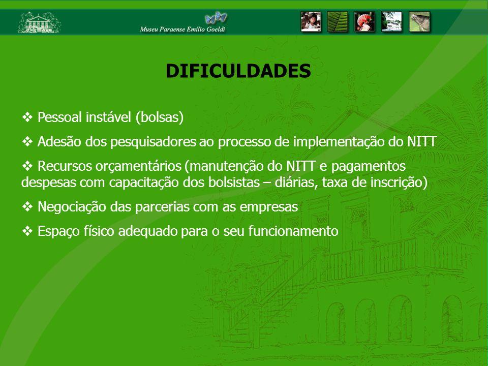 Pessoal instável (bolsas) Adesão dos pesquisadores ao processo de implementação do NITT Recursos orçamentários (manutenção do NITT e pagamentos despes