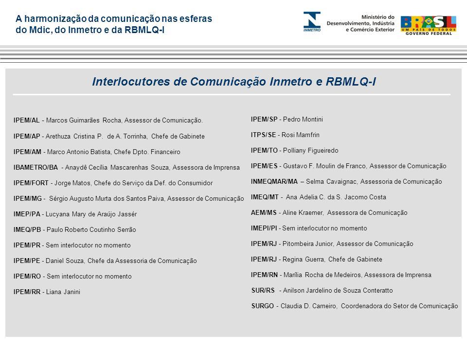 A harmonização da comunicação nas esferas do Mdic, do Inmetro e da RBMLQ-I IPEM/AL - Marcos Guimarães Rocha, Assessor de Comunicação. IPEM/AP - Arethu