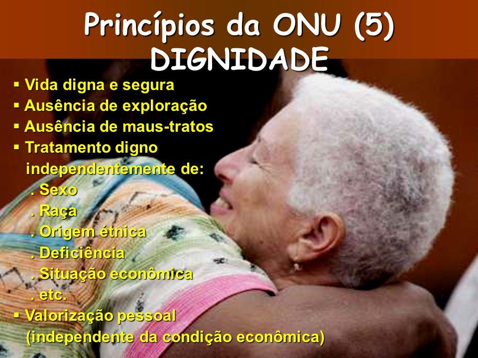 Princípios da ONU (5) DIGNIDADE Vida digna e segura Vida digna e segura Ausência de exploração Ausência de exploração Ausência de maus-tratos Ausência