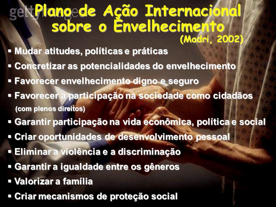 Plano de Ação Internacional sobre o Envelhecimento (Madri, 2002) Mudar atitudes, políticas e práticas Mudar atitudes, políticas e práticas Concretizar