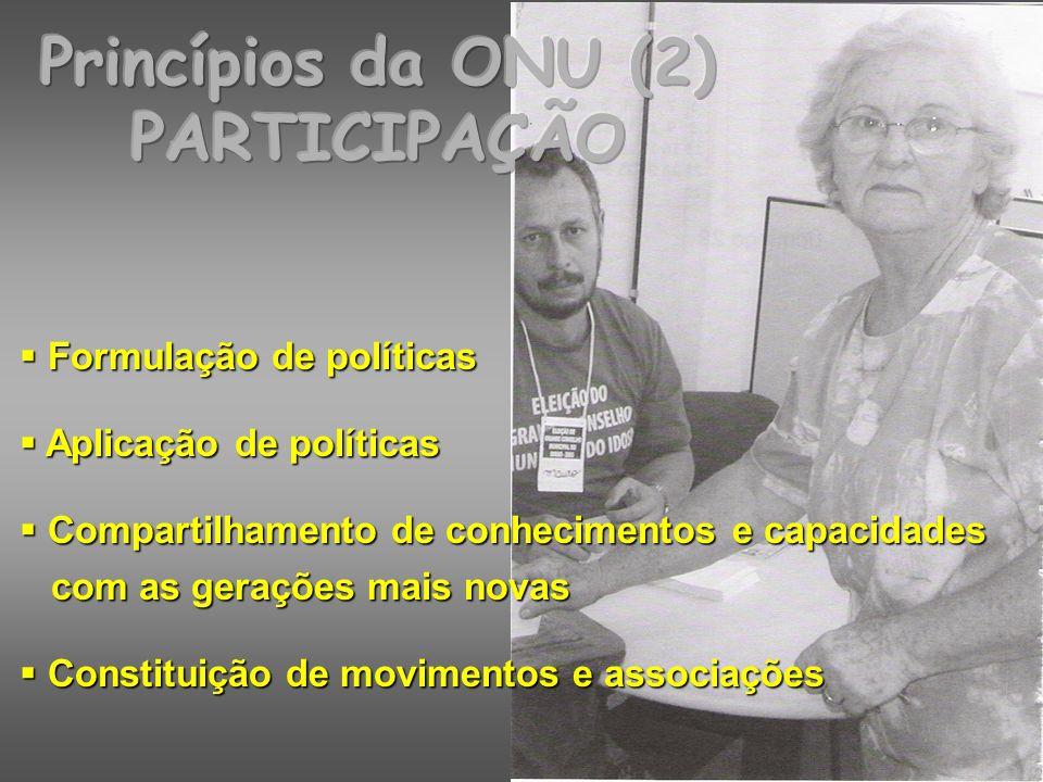 Princípios da ONU (3) CUIDADOS Cuidados da família Cuidados da família Acesso a serviços de saúde e sociais Acesso a serviços de saúde e sociais Cuidados nas ILPIs Cuidados nas ILPIs