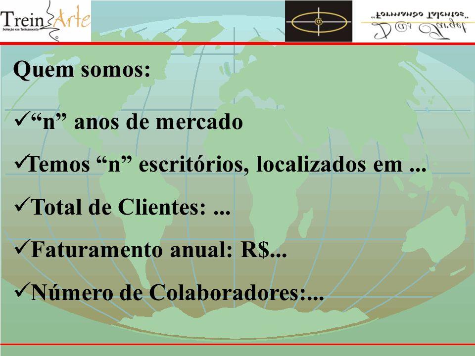TreinArte Consultoria em Gestão de Negócios Modelo de Apresentação do Trabalho (estamos em Janeiro; o cenário é o atual, de hoje)