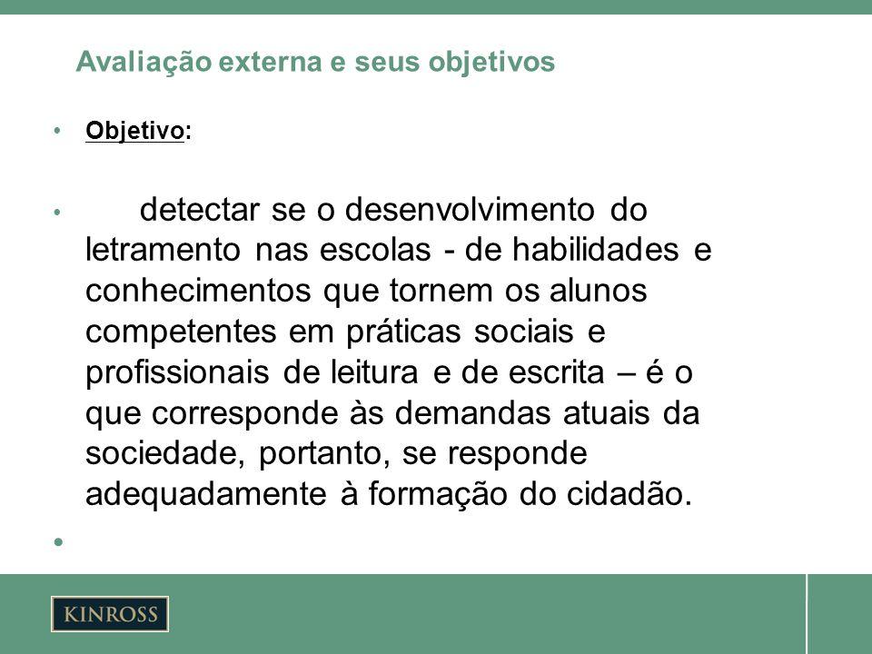 Objetivo: detectar se o desenvolvimento do letramento nas escolas - de habilidades e conhecimentos que tornem os alunos competentes em práticas sociai