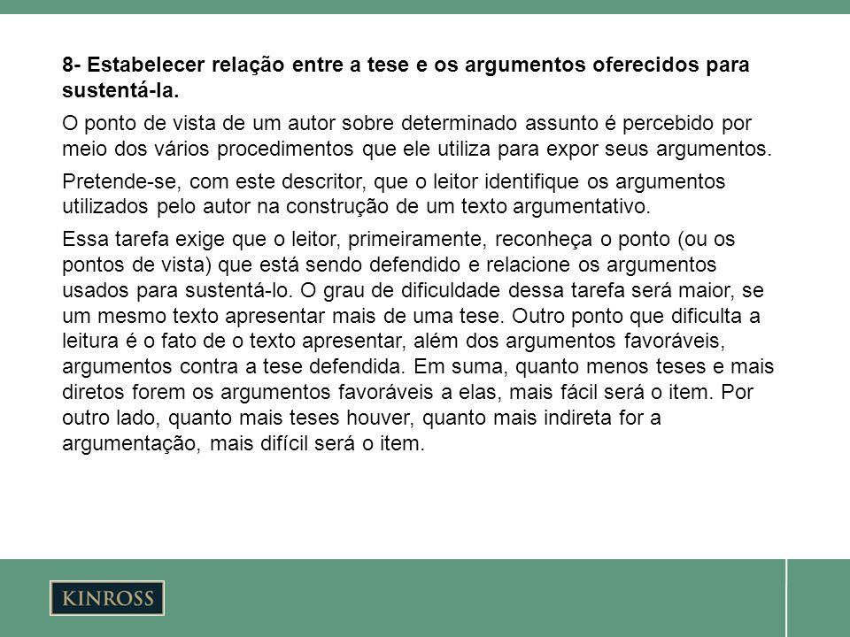 8- Estabelecer relação entre a tese e os argumentos oferecidos para sustentá-la. O ponto de vista de um autor sobre determinado assunto é percebido po