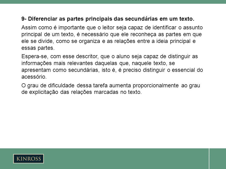 9- Diferenciar as partes principais das secundárias em um texto. Assim como é importante que o leitor seja capaz de identificar o assunto principal de