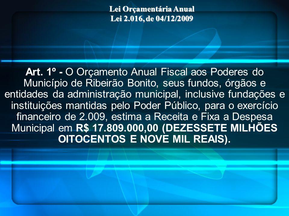 Art. 1º - O Orçamento Anual Fiscal aos Poderes do Município de Ribeirão Bonito, seus fundos, órgãos e entidades da administração municipal, inclusive