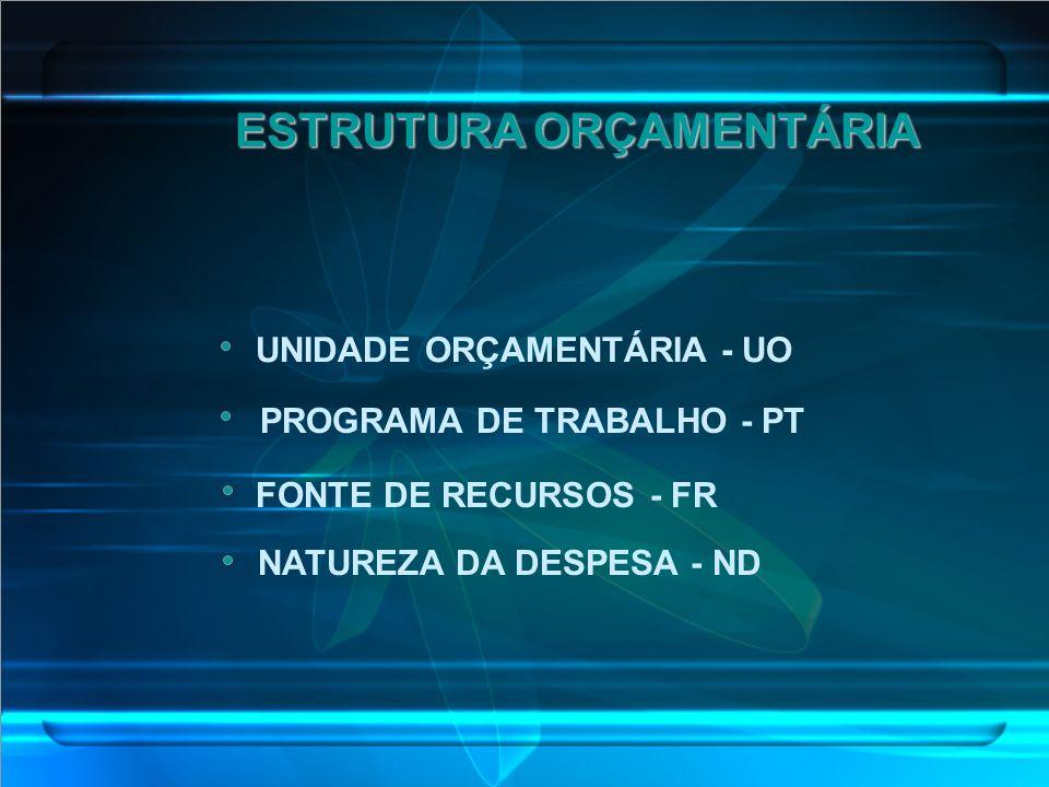 ESTRUTURA ORÇAMENTÁRIA UNIDADE ORÇAMENTÁRIA - UO PROGRAMA DE TRABALHO - PT FONTE DE RECURSOS - FR NATUREZA DA DESPESA - ND