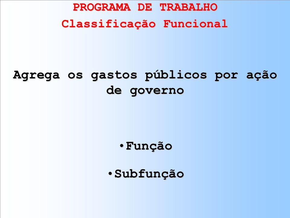 PROGRAMA DE TRABALHO Classificação Funcional Agrega os gastos públicos por ação de governo FunçãoFunção SubfunçãoSubfunção