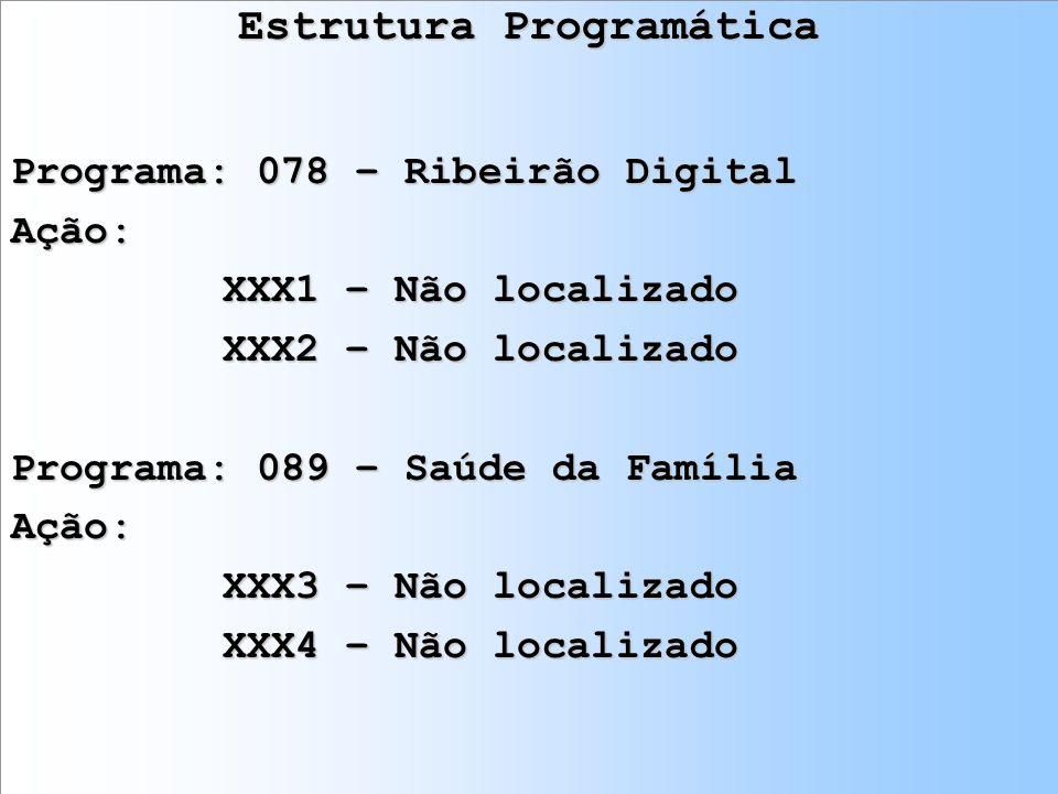 Estrutura Programática Programa: 078 – Ribeirão Digital Ação: XXX1 – Não localizado XXX2 – Não localizado Programa: 089 – Saúde da Família Ação: XXX3