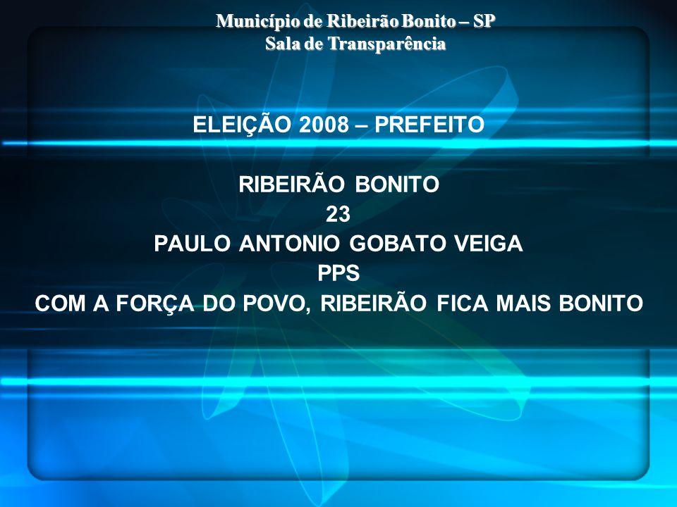 ELEIÇÃO 2008 – PREFEITO RIBEIRÃO BONITO 23 PAULO ANTONIO GOBATO VEIGA PPS COM A FORÇA DO POVO, RIBEIRÃO FICA MAIS BONITO Município de Ribeirão Bonito