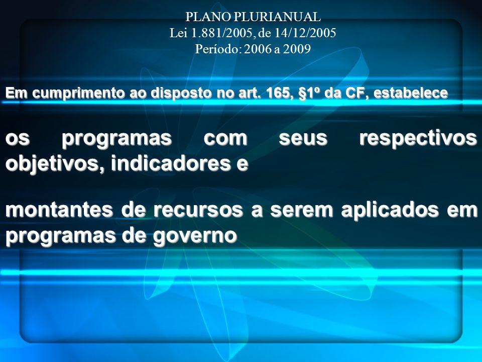 Em cumprimento ao disposto no art. 165, §1º da CF, estabelece os programas com seus respectivos objetivos, indicadores e montantes de recursos a serem