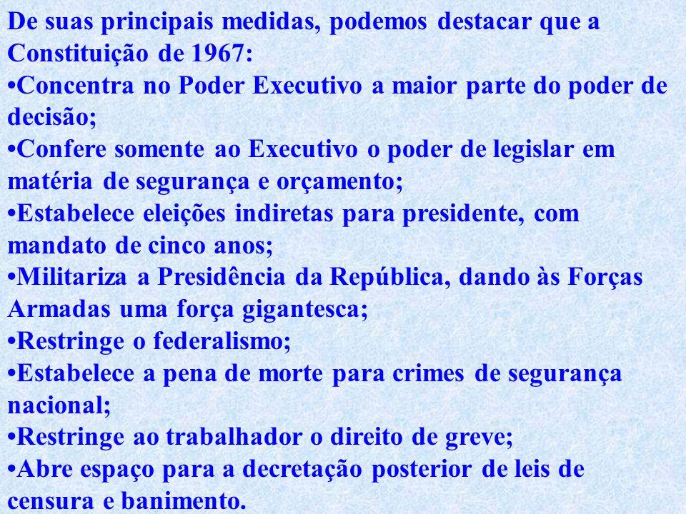 Constituição de 1967 Semi-outorgada. Foi elaborada pelo Congresso Nacional, a que o Ato Institucional n. 4 atribuiu função de poder constituinte origi