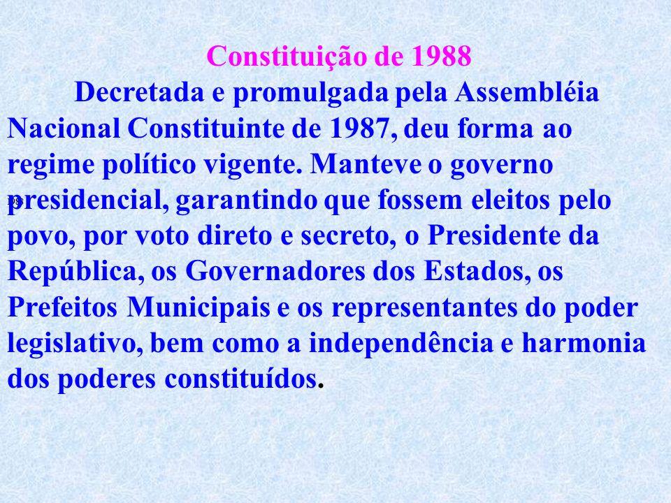 De suas principais medidas, podemos destacar que a Constituição de 1967: Concentra no Poder Executivo a maior parte do poder de decisão; Confere somen