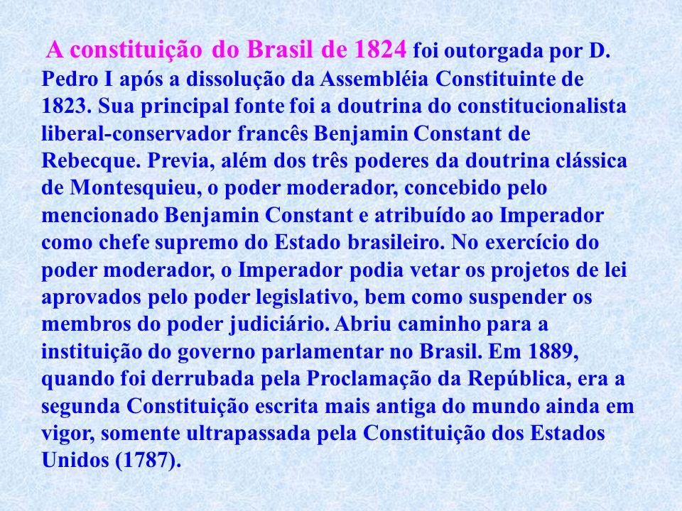 A atual Constituição da República Federativa do Brasil foi promulgada em 5 de outubro de 1988. Ela constitui o Brasill como um Estado democrático de D