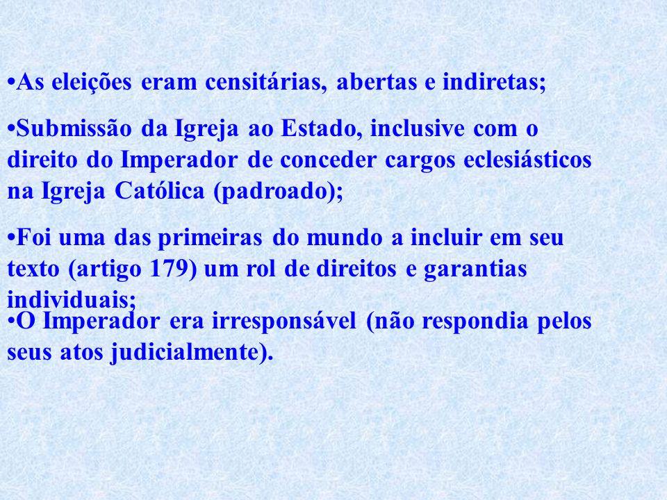 Principais características desta constituição: O governo era uma monarquia unitária e hereditária; A existência de quatro poderes: o Legislativo, o Ex