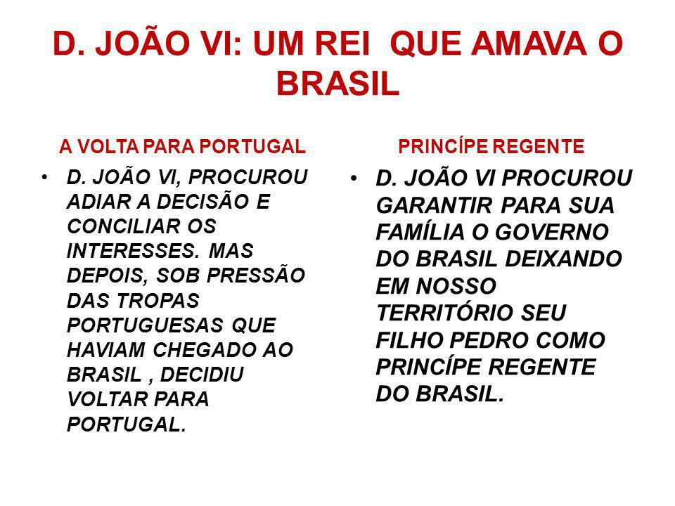 A CAMINHO DA AUTONOMIA No Brasil um grupo de comerciantes e militares apoiava a volta de D. João VI para Portugal e o fortalecimento do poder em Lisbo