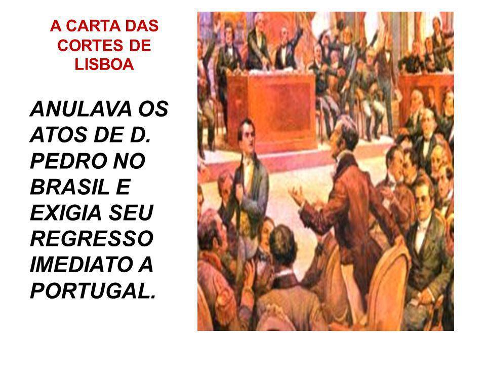 MESES DEPOIS.... MESES DEPOIS, ÀS MARGENS DO RIO IPIRANGA, EM SÃO PAULO, D PEDRO RECEBEU DUAS IMPORTANTES CARTAS: UMA DAS CORTES PORTUGUESAS E OUTRA D