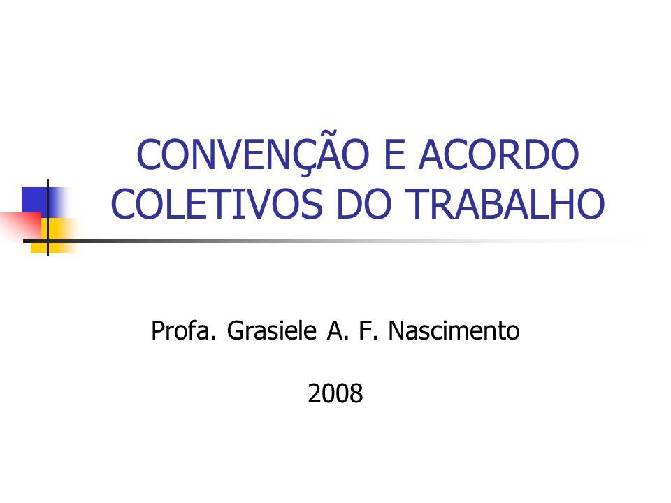 CONVENÇÃO E ACORDO COLETIVOS DO TRABALHO Profa. Grasiele A. F. Nascimento 2008