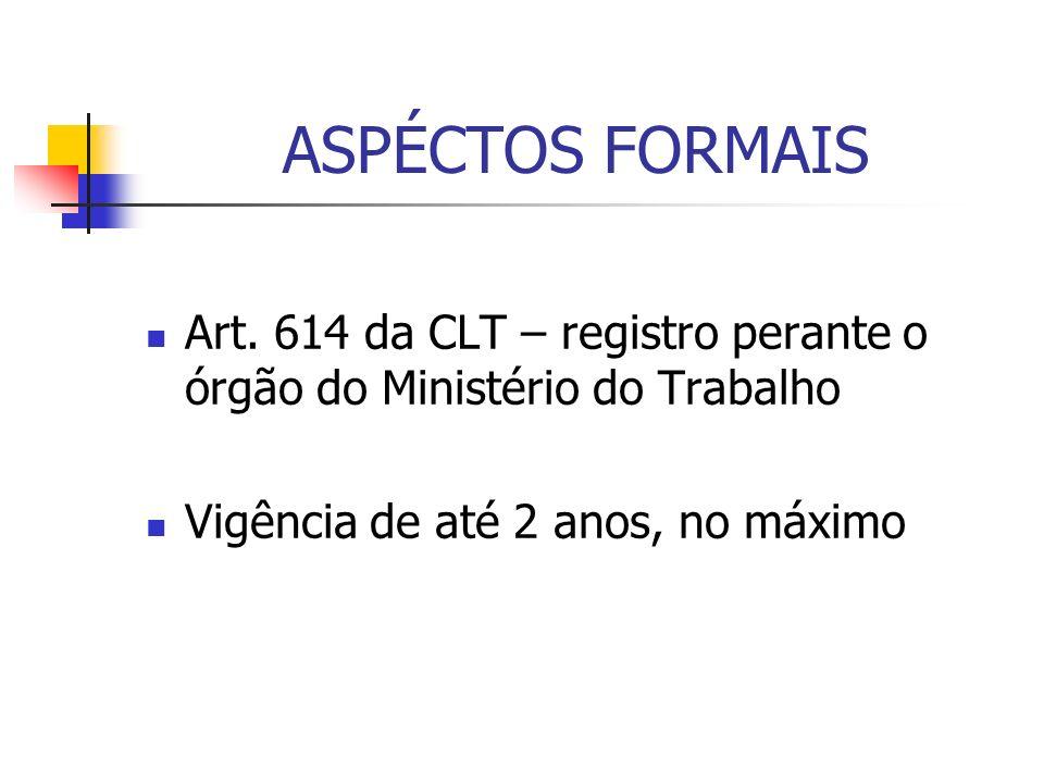 ASPÉCTOS FORMAIS Art. 614 da CLT – registro perante o órgão do Ministério do Trabalho Vigência de até 2 anos, no máximo