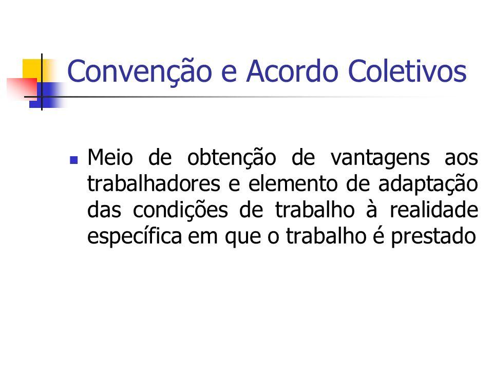 Convenção e Acordo Coletivos Meio de obtenção de vantagens aos trabalhadores e elemento de adaptação das condições de trabalho à realidade específica