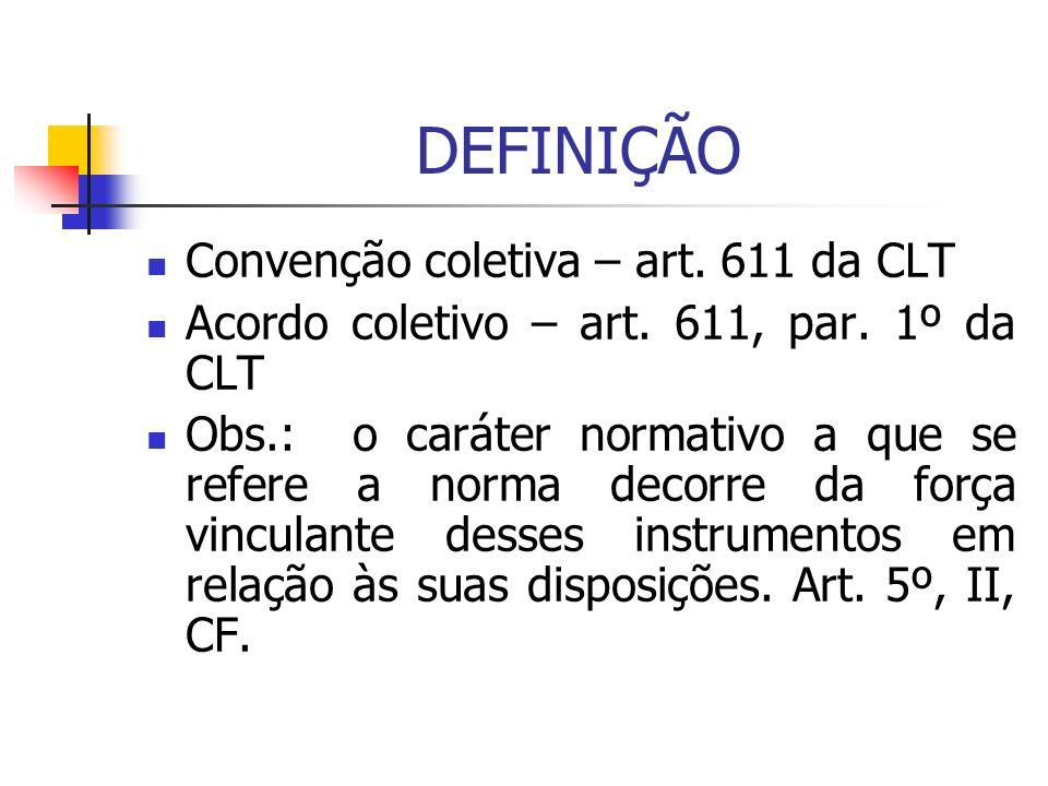 DEFINIÇÃO Convenção coletiva – art. 611 da CLT Acordo coletivo – art. 611, par. 1º da CLT Obs.: o caráter normativo a que se refere a norma decorre da