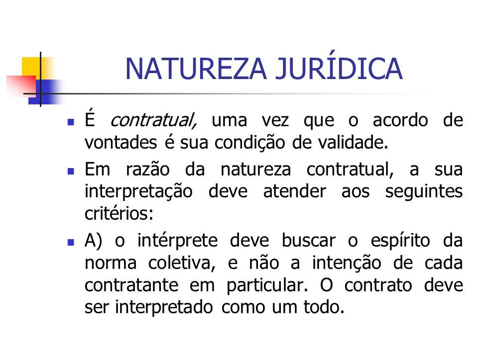 NATUREZA JURÍDICA É contratual, uma vez que o acordo de vontades é sua condição de validade. Em razão da natureza contratual, a sua interpretação deve