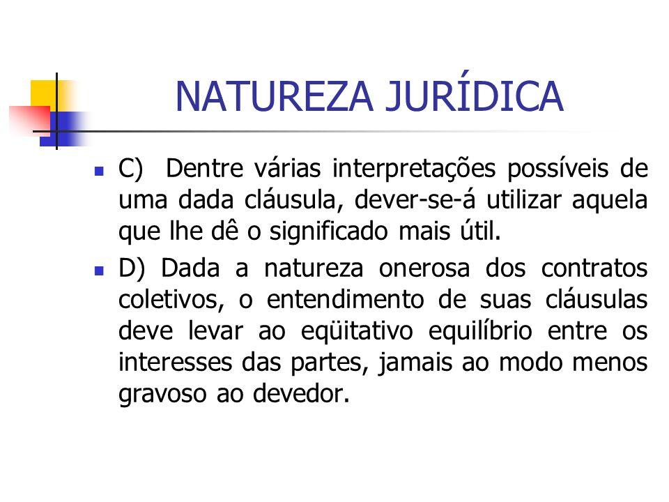 NATUREZA JURÍDICA C) Dentre várias interpretações possíveis de uma dada cláusula, dever-se-á utilizar aquela que lhe dê o significado mais útil. D) Da