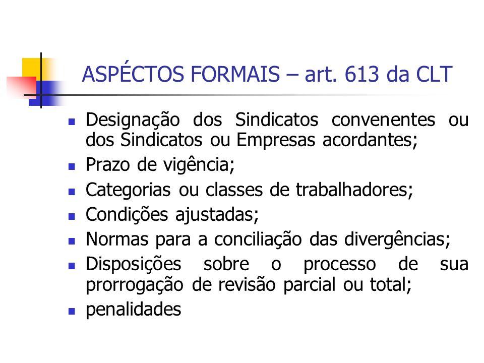 ASPÉCTOS FORMAIS – art. 613 da CLT Designação dos Sindicatos convenentes ou dos Sindicatos ou Empresas acordantes; Prazo de vigência; Categorias ou cl