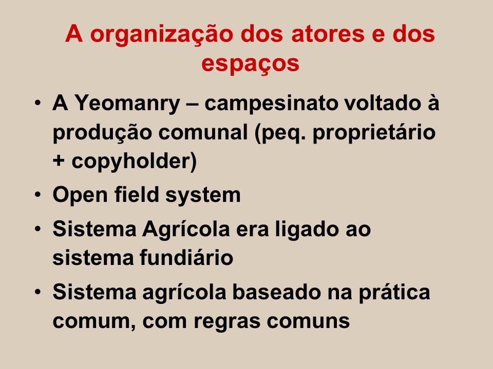 A organização dos atores e dos espaços A Yeomanry – campesinato voltado à produção comunal (peq. proprietário + copyholder) Open field system Sistema