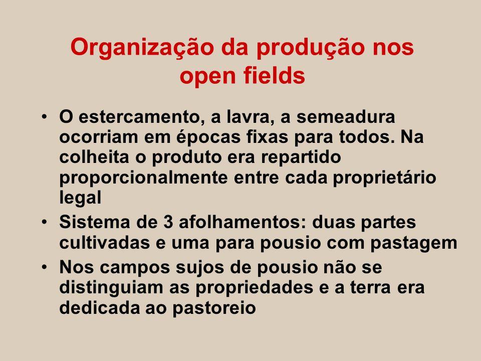Organização da produção nos open fields O estercamento, a lavra, a semeadura ocorriam em épocas fixas para todos. Na colheita o produto era repartido