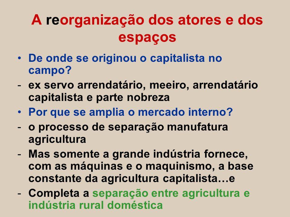 De onde se originou o capitalista no campo? -ex servo arrendatário, meeiro, arrendatário capitalista e parte nobreza Por que se amplia o mercado inter
