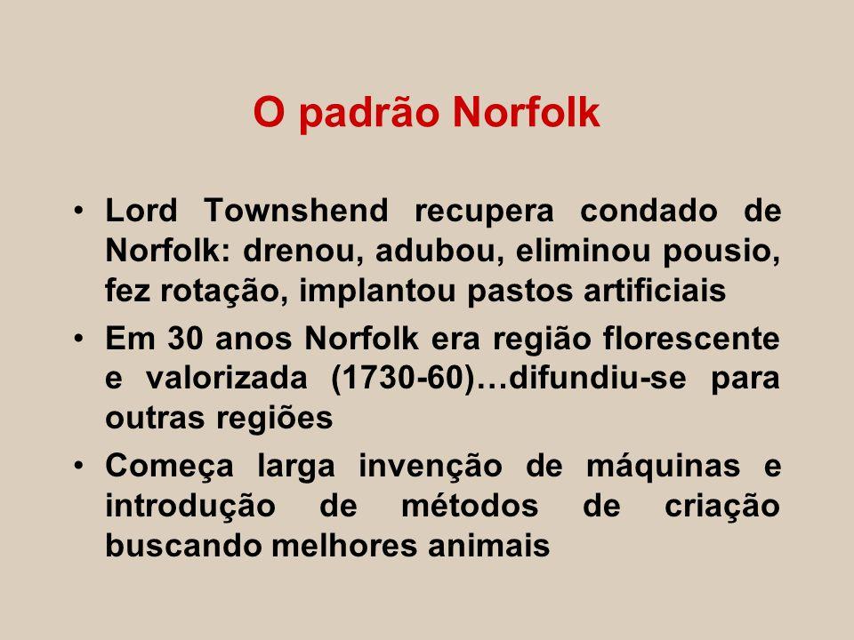 O padrão Norfolk Lord Townshend recupera condado de Norfolk: drenou, adubou, eliminou pousio, fez rotação, implantou pastos artificiais Em 30 anos Nor