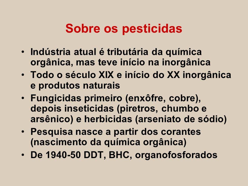 Sobre os pesticidas Indústria atual é tributária da química orgânica, mas teve início na inorgânica Todo o século XIX e início do XX inorgânica e prod