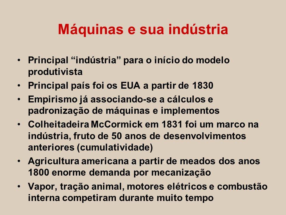 Máquinas e sua indústria Principal indústria para o início do modelo produtivista Principal país foi os EUA a partir de 1830 Empirismo já associando-s