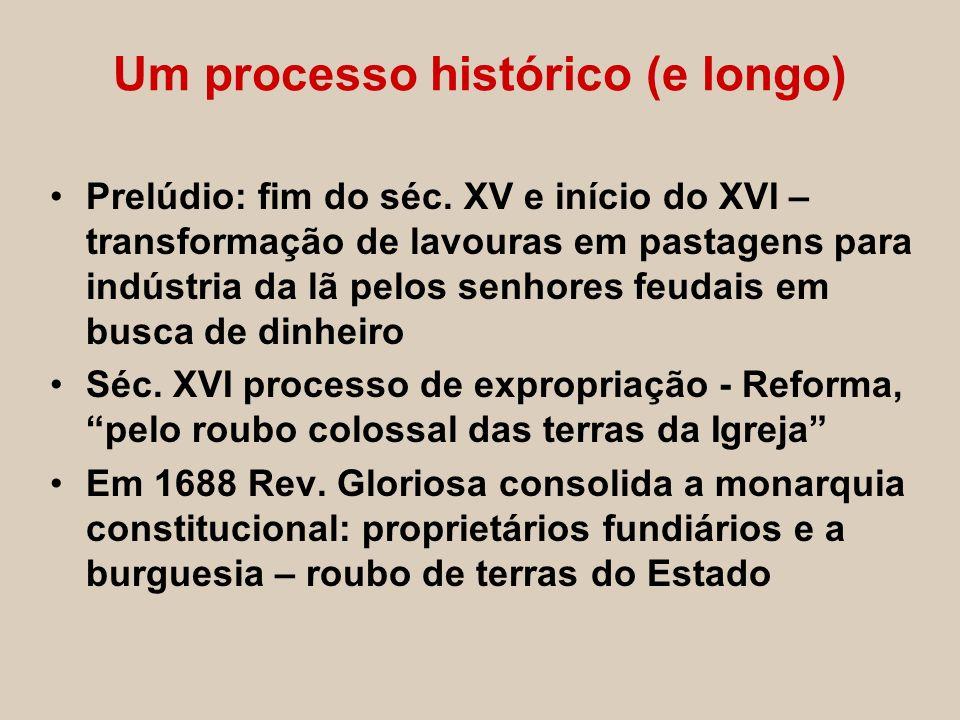 Um processo histórico (e longo) Prelúdio: fim do séc. XV e início do XVI – transformação de lavouras em pastagens para indústria da lã pelos senhores