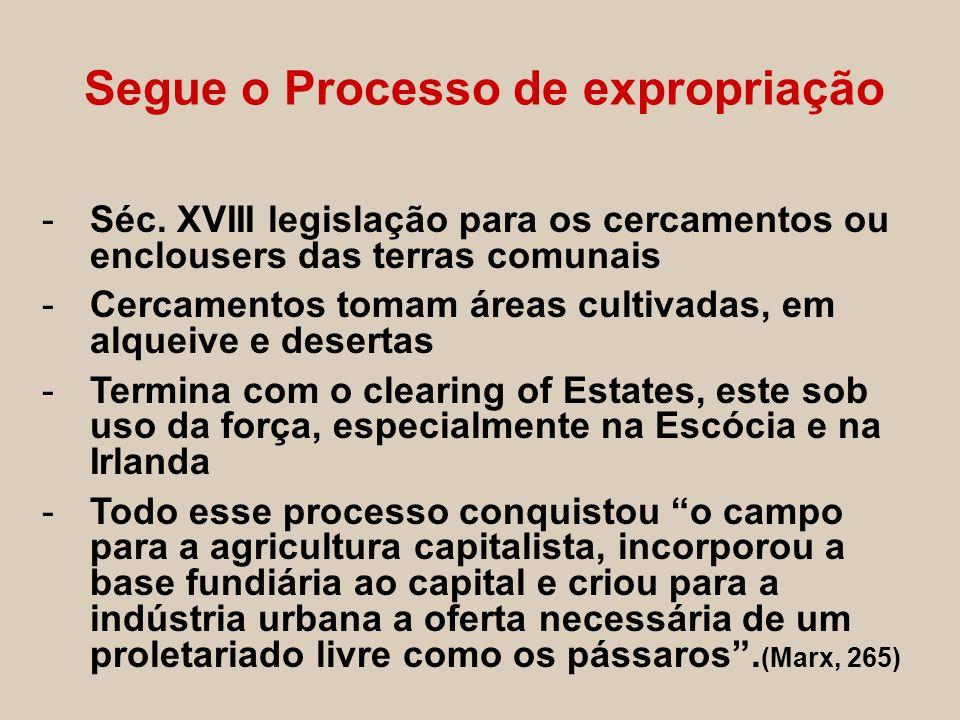 Segue o Processo de expropriação -Séc. XVIII legislação para os cercamentos ou enclousers das terras comunais -Cercamentos tomam áreas cultivadas, em