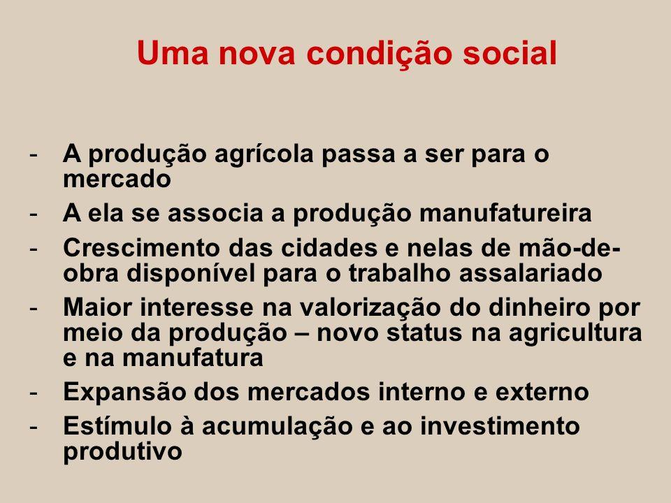 Uma nova condição social -A produção agrícola passa a ser para o mercado -A ela se associa a produção manufatureira -Crescimento das cidades e nelas d