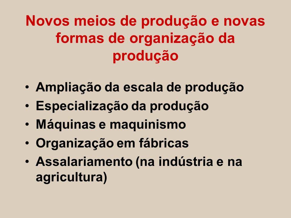 Novos meios de produção e novas formas de organização da produção Ampliação da escala de produção Especialização da produção Máquinas e maquinismo Org