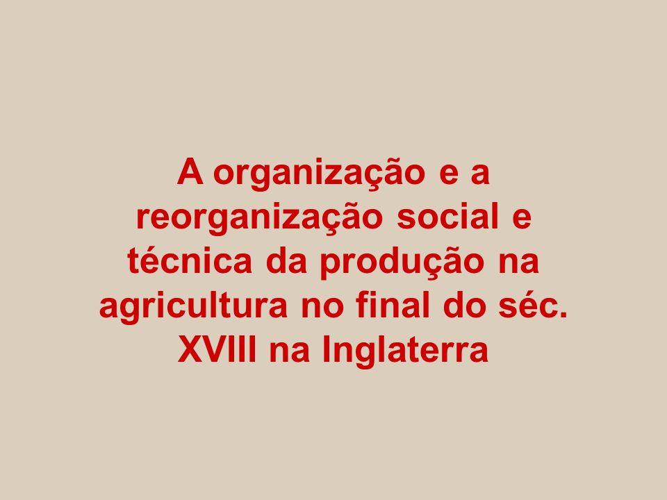 A organização e a reorganização social e técnica da produção na agricultura no final do séc. XVIII na Inglaterra