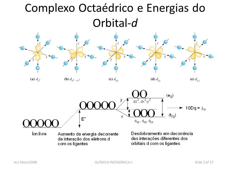 Resolvendo o sistema obtém-se: x = 4Dq e y = 6Dq Em relação a E: E(dz 2, dx 2 -y 2 ) = +6 D q = 0,6 o E(dxy, dxz,dyz) = -4 D q = -0,4 o Ou ainda: E(e g ) = +6 D q = 0,6 o E(t 2g ) = -4 D q = -0,4 o Slide 4 of 17QUÍMICA INORGÂNICA IIAry Maia/2008