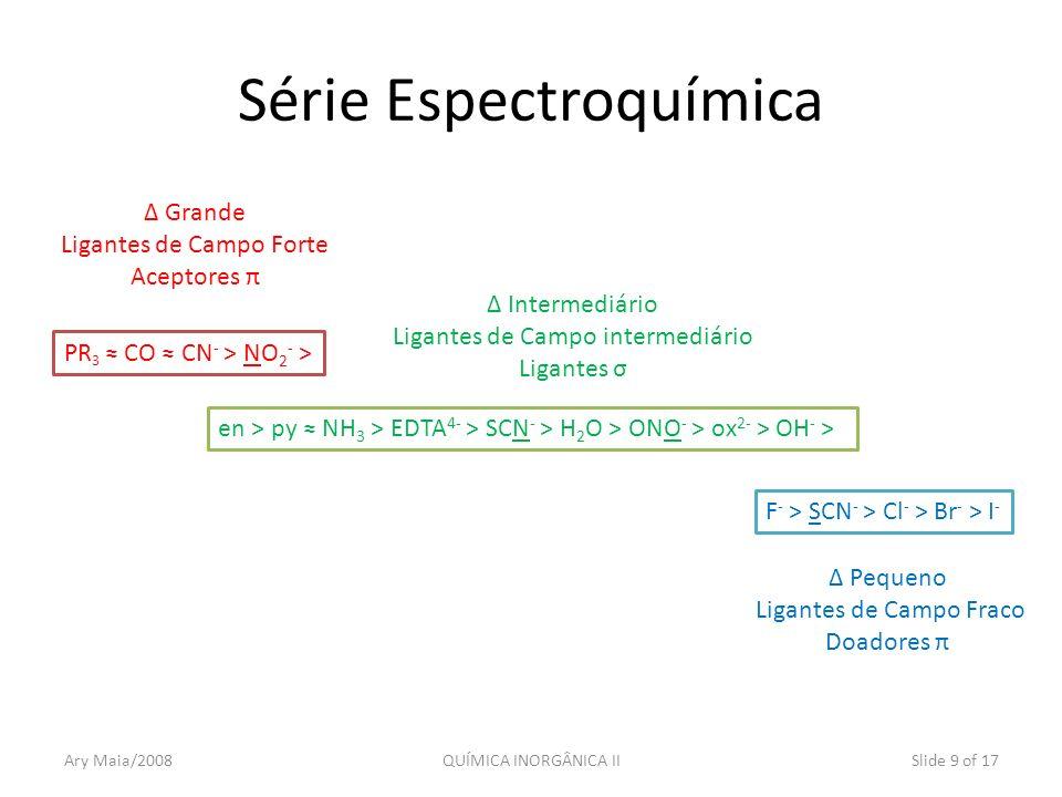 Ary Maia/2008QUÍMICA INORGÂNICA IISlide 9 of 17 Série Espectroquímica PR 3 CO CN - > NO 2 - > F - > SCN - > Cl - > Br - > I - Δ Grande Ligantes de Cam