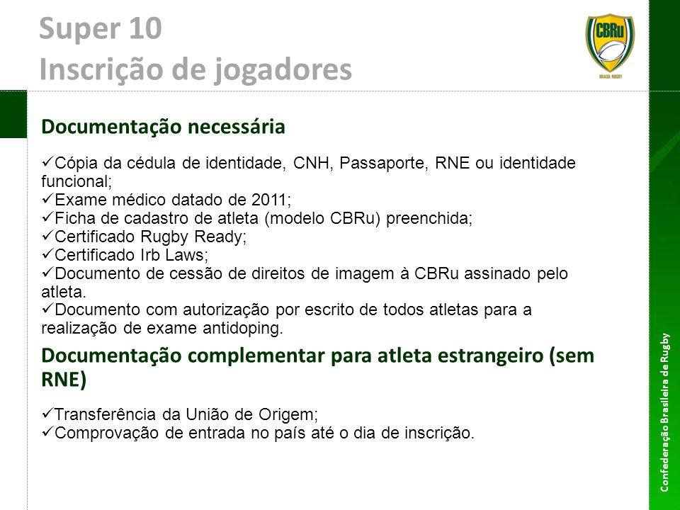 Confederação Brasileira de Rugby Super 10 Inscrição de jogadores Documentação necessária Cópia da cédula de identidade, CNH, Passaporte, RNE ou identi